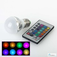 3W RGB LED светодиодная Лампа, разноцветная лампа LED, цоколь Е14