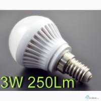 Светодиодная Led лампа E14, E27 3W 250-300 Lm 220V воль