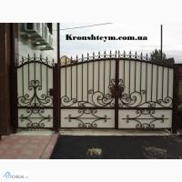 Красивые кованые ворота в дом в Киеви и Коростени