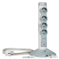 Вертикальный мультимедийный многорозеточный блок 4 х 2К+З с кабелем 2 м