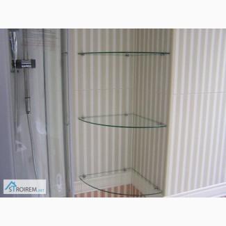 Стеклянные полки угловые, для ванной, витрины