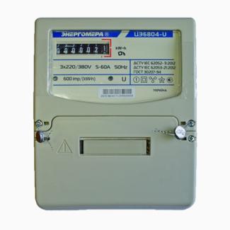 Электросчетчик Энергомера ЦЭ6804-U/1 220В 5-60А 3ф. 4пр. ЭР32 трехфазный однотарифный