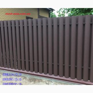 Металлический евроштакет, штакет усиленный, купить забор из штакета