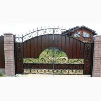 Кованые ворота, с профнастила