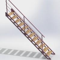 Лестница маршевая прямая, регулируемая по высоте Адаптив