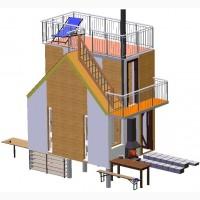 Швидко споруджуєма (быстро возводимая) будівля зборно-розборна секційного типу. Модуль дім
