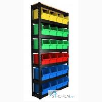Продам для саморезов и крепежа - ящик пластиковый и стеллаж для разных крепежных метизов