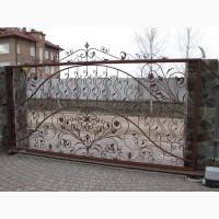 Кованные откатные ворота в Киеве