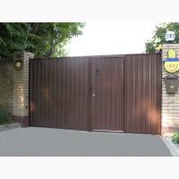 Ворота с профлиста, металла, кованые